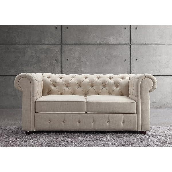 Rosevera Enrico Tufted Loveseat, Contemporary Chesterfield Sofa, Linen Upholstery, Beige