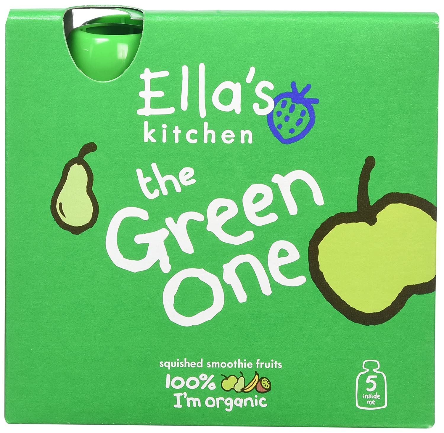 Ella's Kitchen The Green One Organic Smoothie Fruits Multipack 5 x 90 g (Pack of 6, Total 30 Packets) Ella's Kitchen 49152