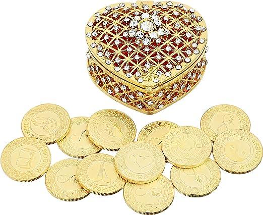 WEDDING CEREMONY GOLD HEART ARRAS DE BODA 13 UNITY COINS HEARTS ARRAS BOX CHEST