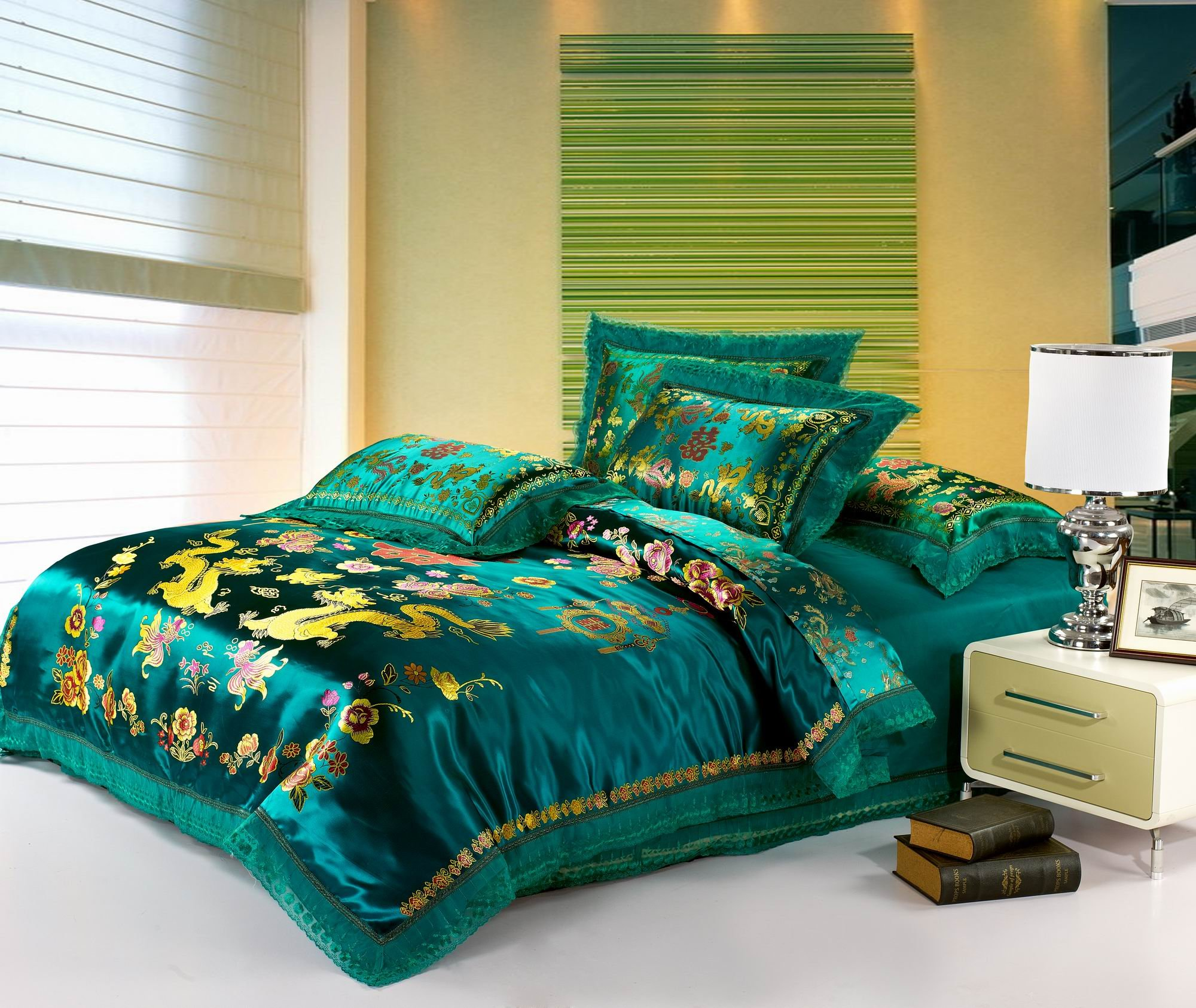 Best Jacquard Chinese Wedding Bedding Set Dragon Phoenix Double Blessing Embroidery Lace Silk Duvets Cover Set 4pcs Queen Green