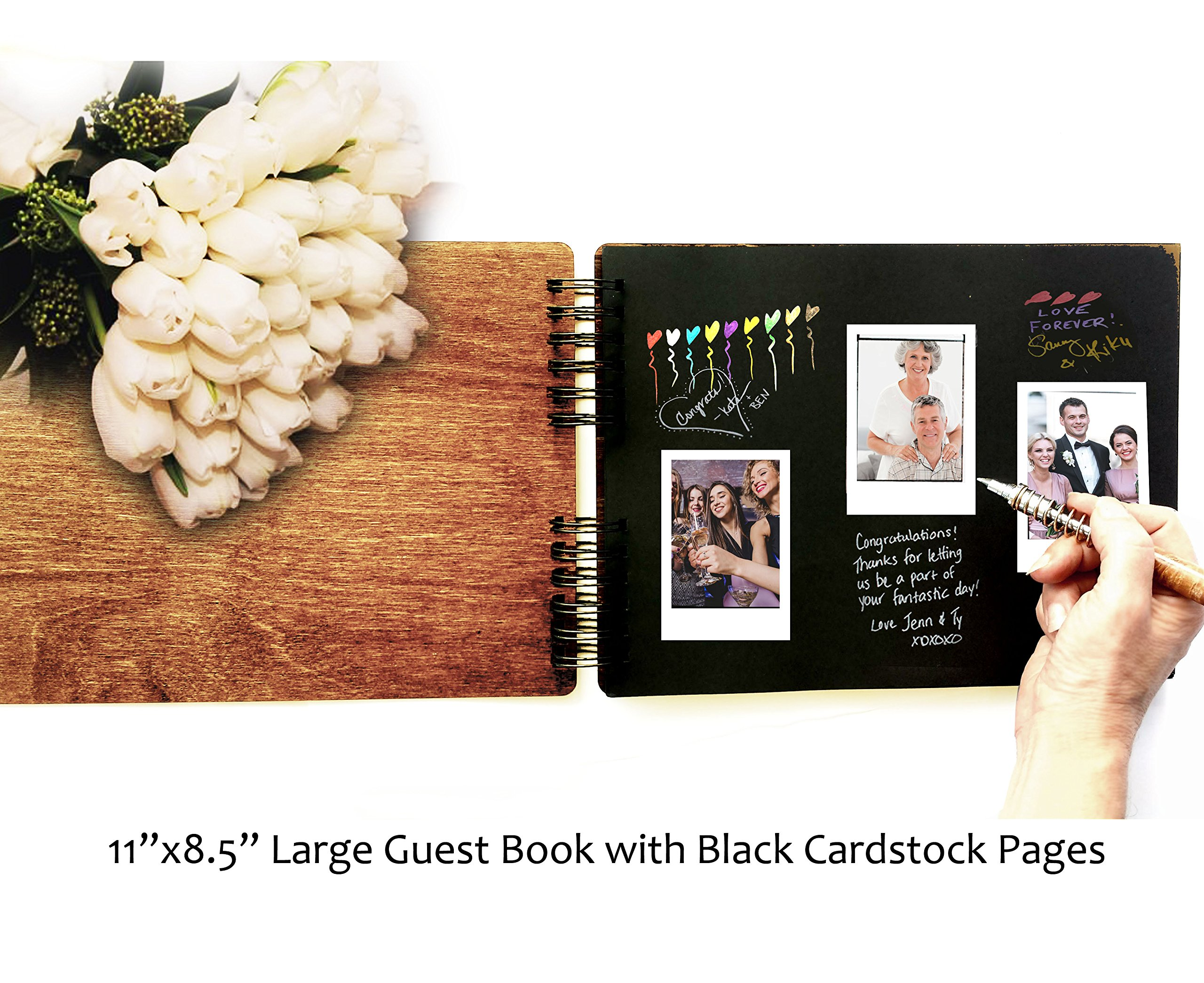 Personalized Wedding Guest Book Mr Mrs Wooden Rustic Vintage Bridal Black Mahogany Oak or Cocoa Unique Wood Hardcover Finish Options by Weddings-by-StockingFactory (Image #3)