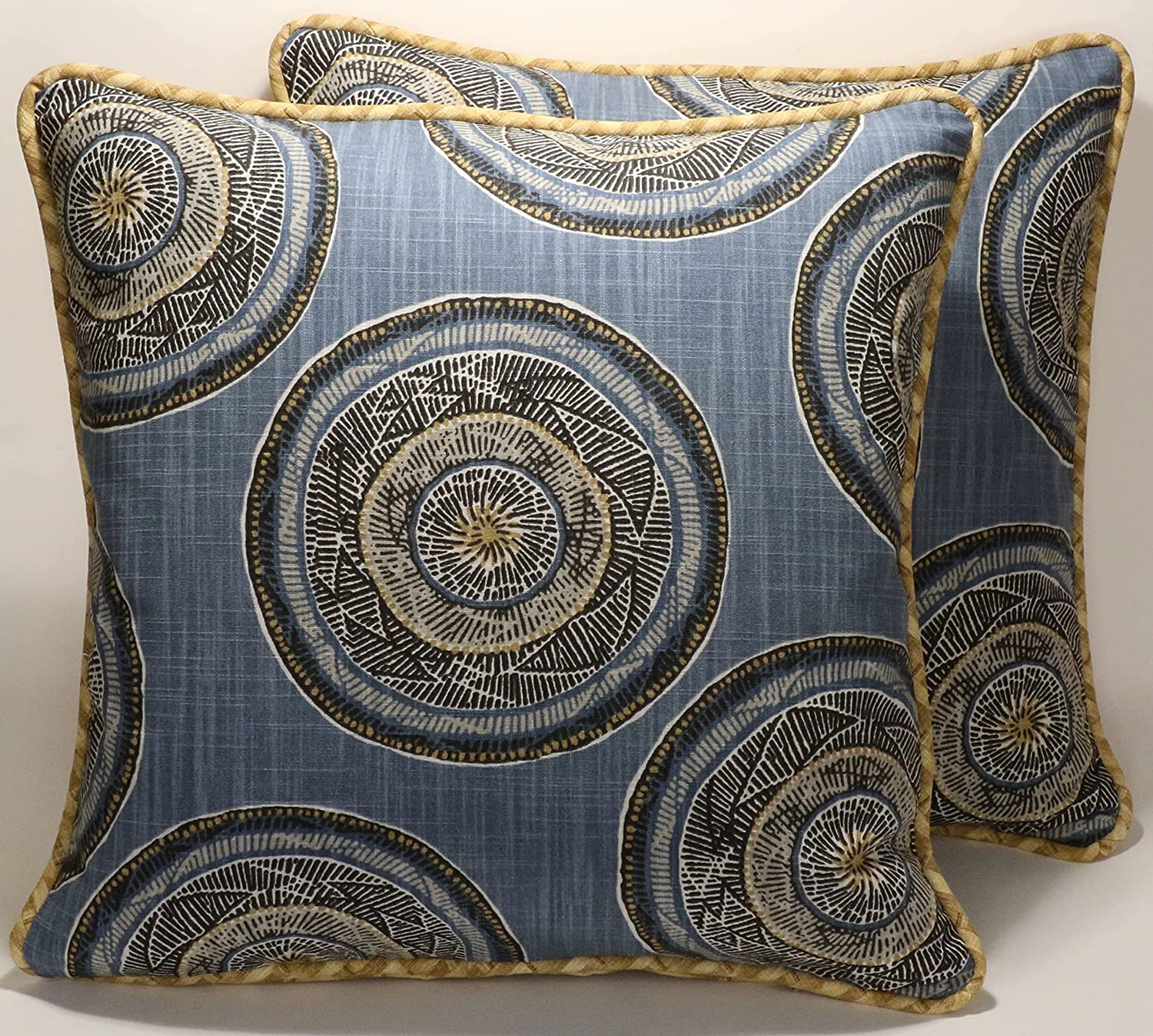 Blue Suzani Throw Pillow Cover Robert Allen Jambasa Greystone Shabby and Rustic Cushion Cover Home Decor Vintage Retro Fabric Set of 2 Pillowcases Decorative for Sofa Couch Bed Car Decor