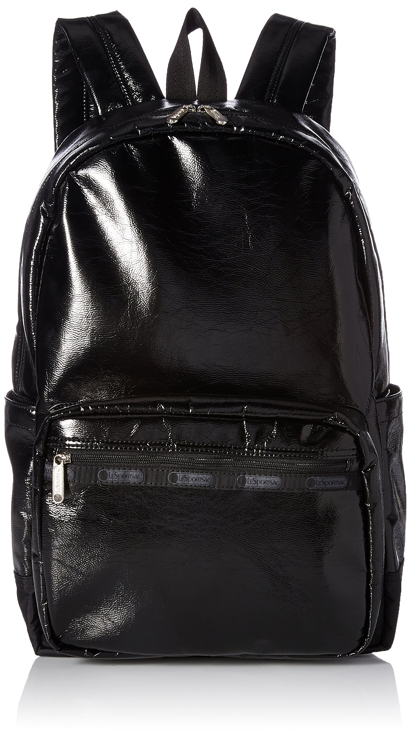 LeSportsac Women's Classic Essential Backpack, Black Crinkle Patent