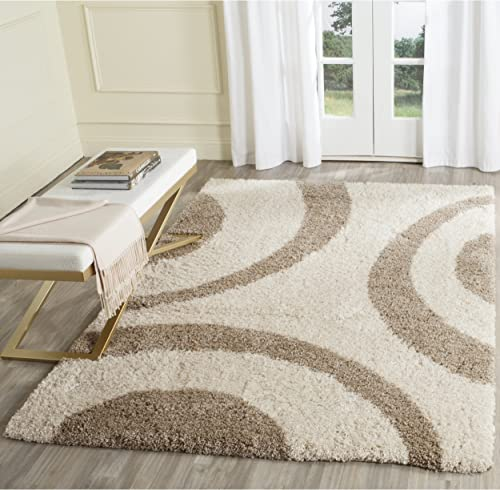 "Safavieh Portofino Shag Collection PTS213B Ivory and Beige Area Rug 6'7"" x 9'2"""
