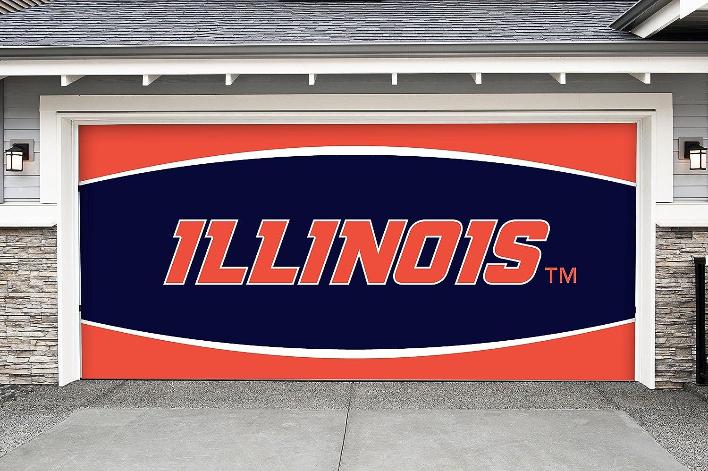 7 ' x 16 ' Doubleガレージドア装飾Illinois Fighting Illini B07B3Z26WJ