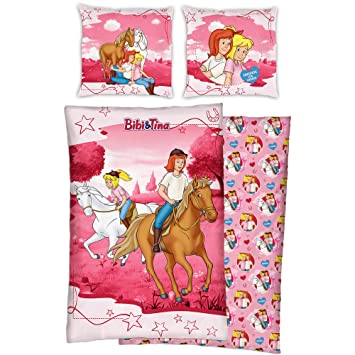 Bibi Und Tina Flanell Kinder Wende Bettwäsche Motiv Reiter Pink 135