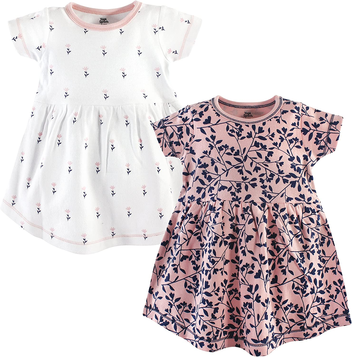 Yoga Sprout Baby Girls Cotton Dress, 2 Pack