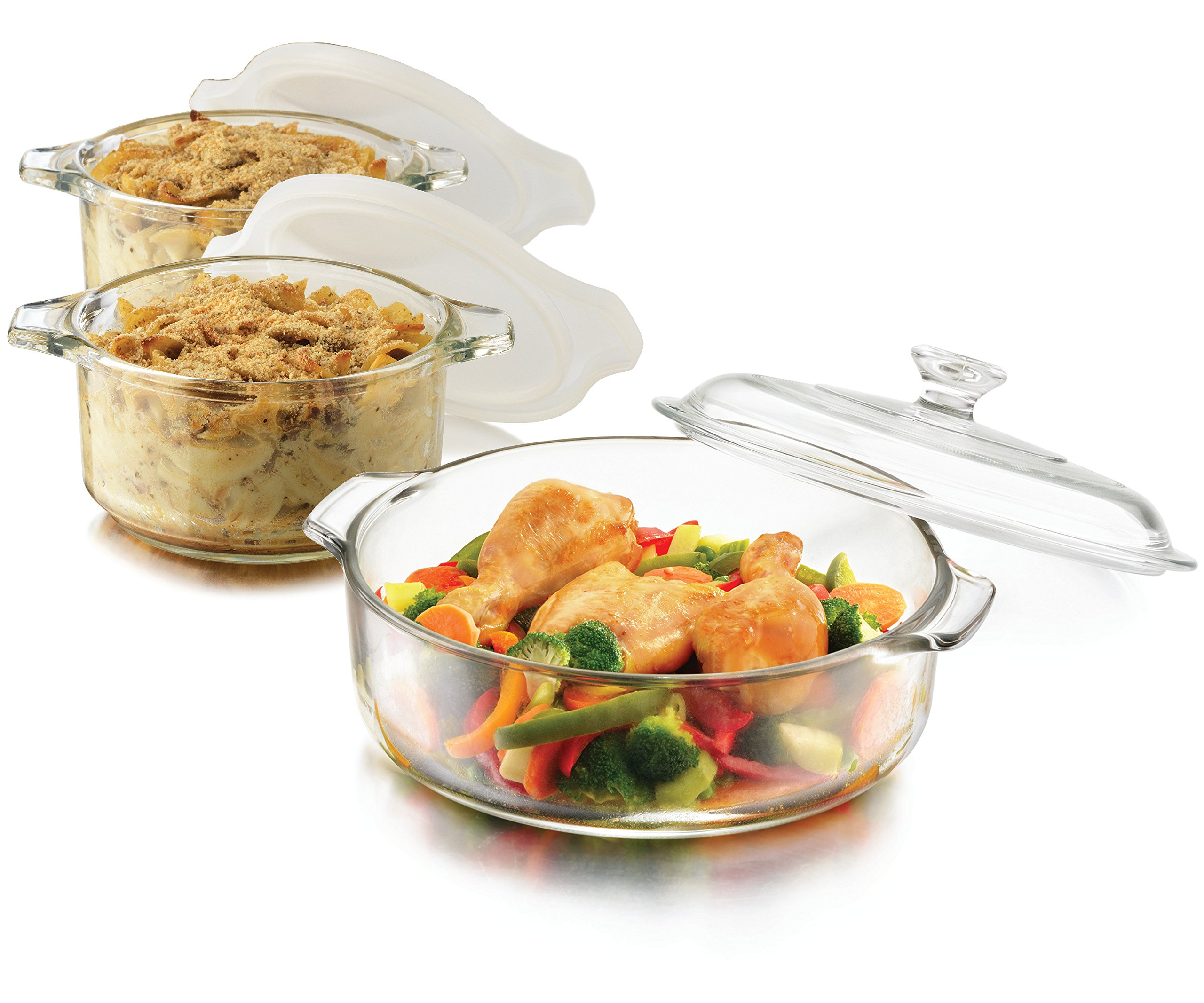 Libbey Casserole 6-pc set, (1) 10'' and Lid (2) 5'' and Lids