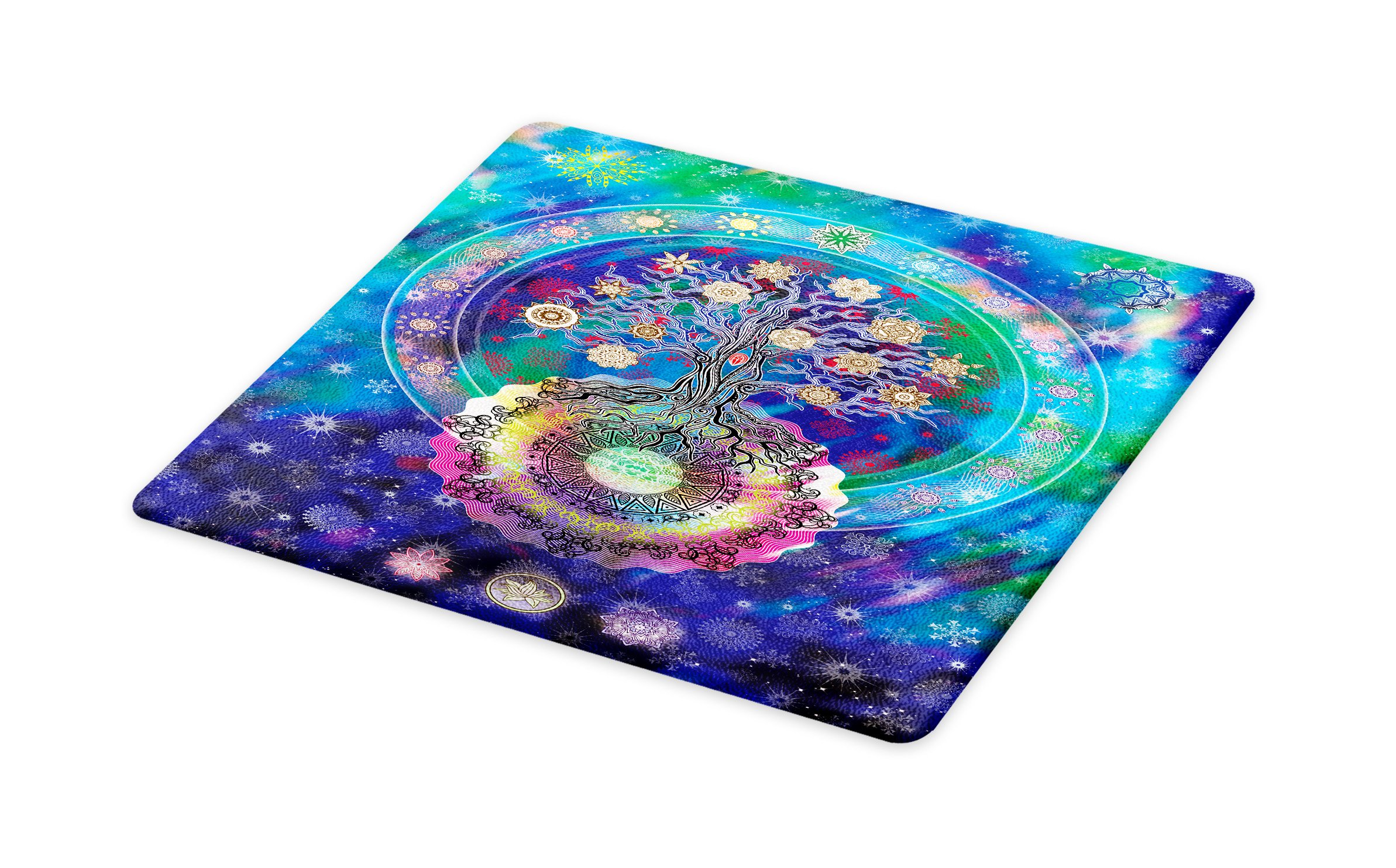 Lunarable Mandala Cutting Board, Tree of Life Floral Style Mandala Spiritual Artwork Meditation Peace Spa Design, Decorative Tempered Glass Cutting and Serving Board, Small Size, Blue Purple