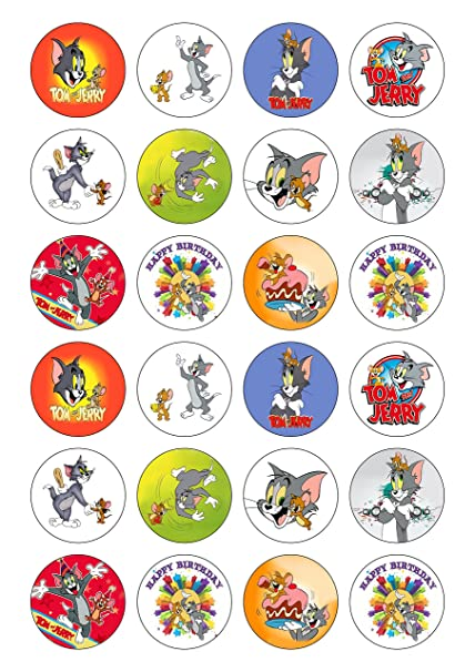 24 Precut Tom and Jerry Cartoon Edible Wafer Paper Cake Toppers