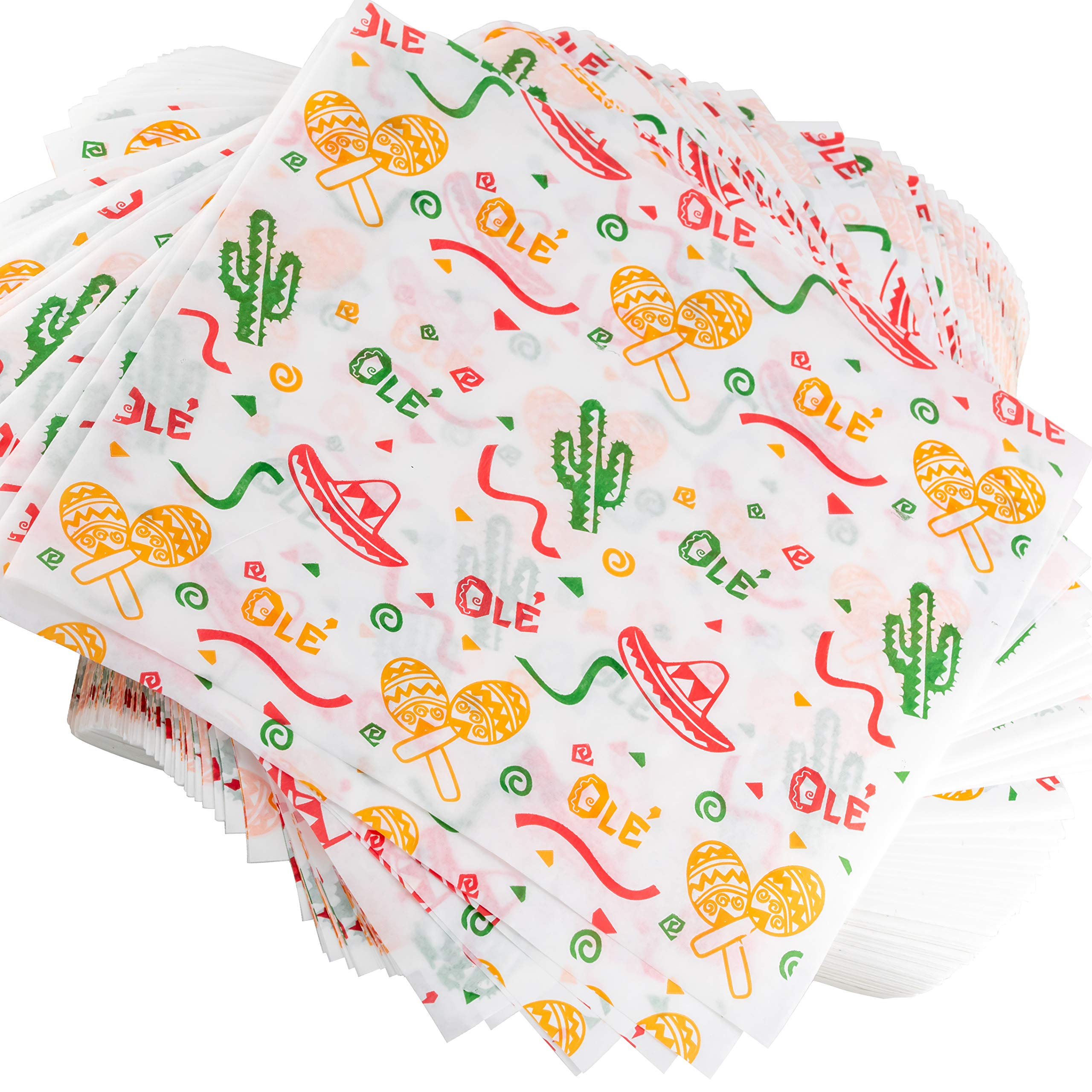 Fun, Fiesta Style 12in Deli Paper 1000 Ct. Greaseproof, Microwave-Safe Mexican Themed Tissue Great for Burrito Wrappers or Nacho Basket Liners. Southwest Party Supplies for Cinco de Mayo Celebration