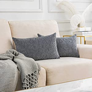 Home Brilliant Grey Throw Pillows for Bed Chenille Plush Velvet Small Lumbar Pillow Covers, Light Gray, Set of 2, 12 x 20 inches(30x50 cm)