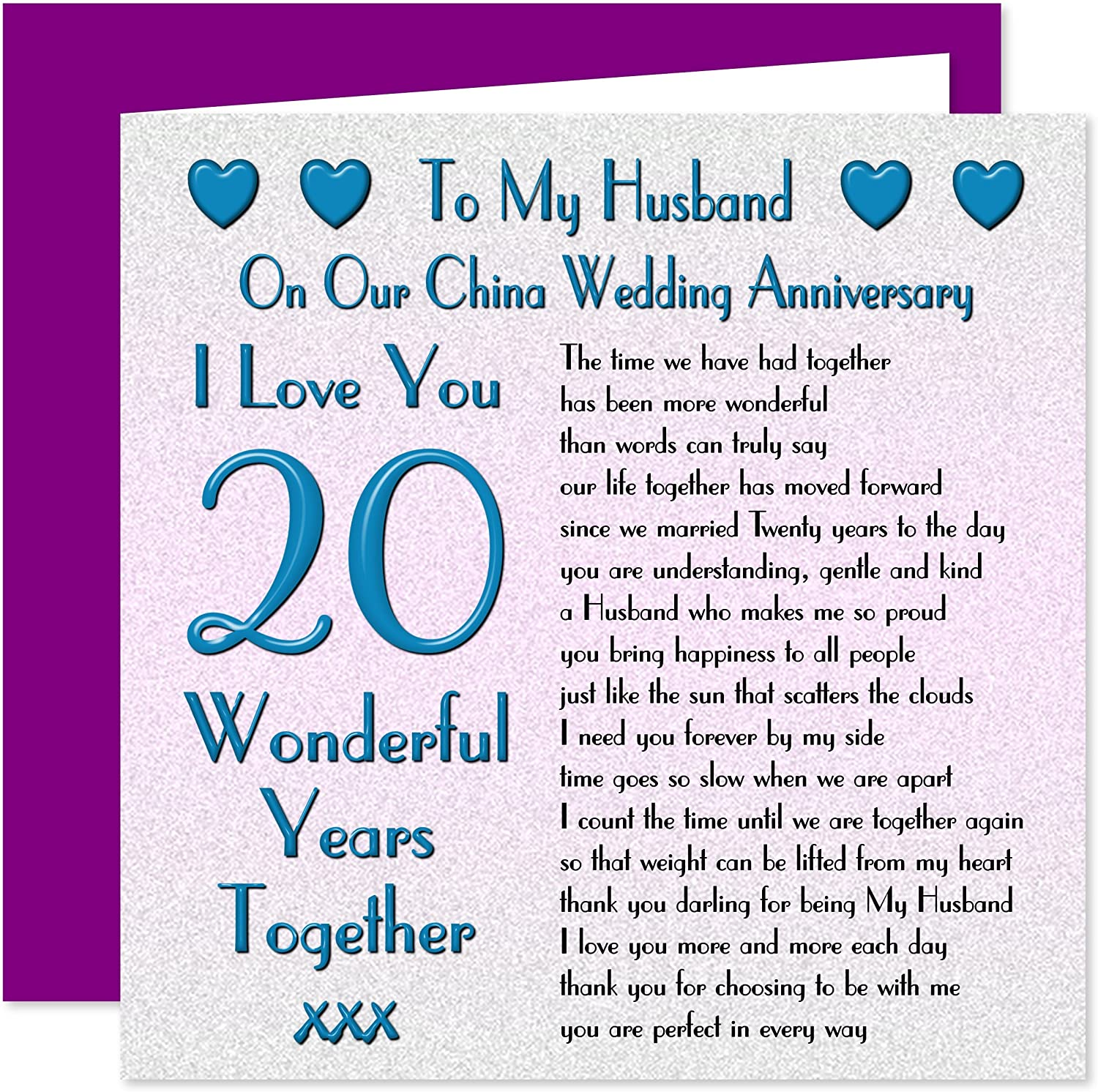 My Husband 20th Wedding Anniversary Card On Our China Anniversary 20 Years Sentimental Verse I Love You Amazon Co Uk Office Products