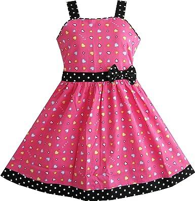 2154dc7bc49e9 Sunny Fashion Robe Fille Cœur Imprimer Rose 4-12 Ans: Amazon.fr ...