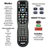 Anderic Universal 4-Device Remote Control for Smart TV, Roku, Blu-Ray, Audio, Sound Bar and More + 1-Year Warranty - RRU401