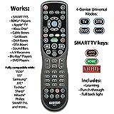 """Made for Roku"" & Smart TVs - Anderic Universal 4-Device Learning Remote for All TV (HDTV, Smart TV, Apple TV, Roku TV), Roku Player, BluRay, Audio, Vizio TV, Insignia Roku TV, Sharp Roku TV - RRU401"
