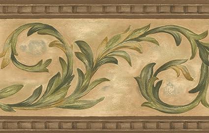 Green Vines Beige Damask Wallpaper Border Retro Design