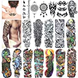 Amazon Price History for:Full Arm Temporary Tattoo, Konsait Extra Temporary Tattoo Black tattoo Body Stickers for Man Women (18 Sheets)