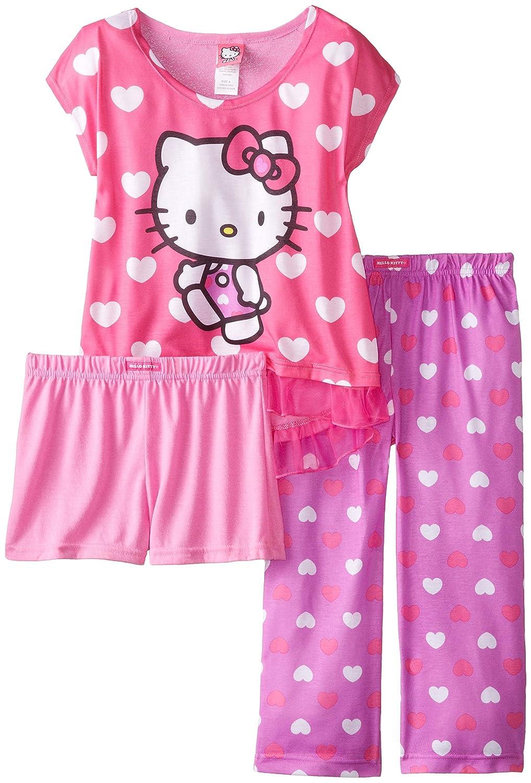 Hello Kitty Big Girls All Over Hearts 3-Piece Pajama Set