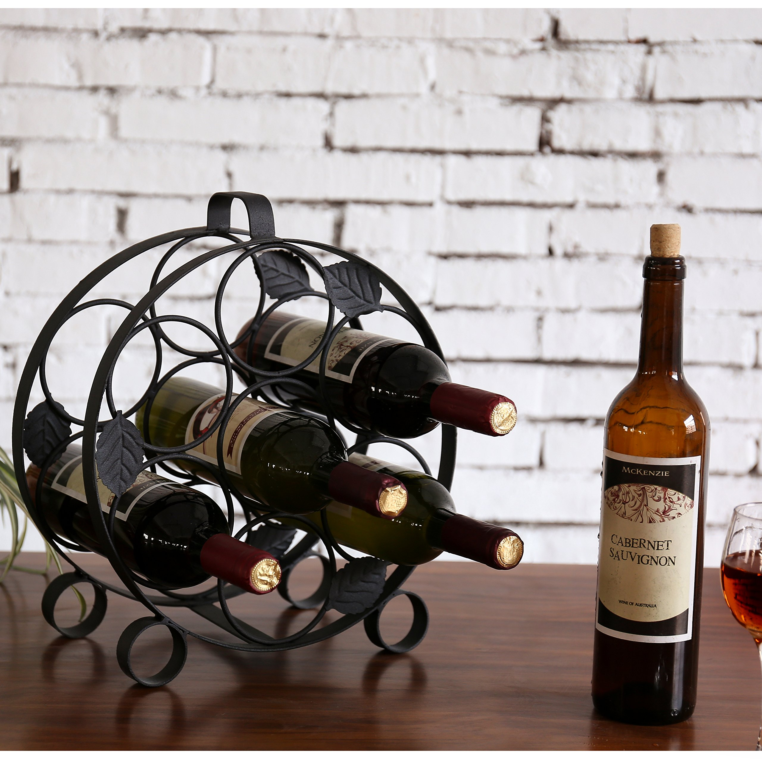 Modern Countertop Circular Black Metal Wine Bottle Display Rack - Holds up to 7 Bottles