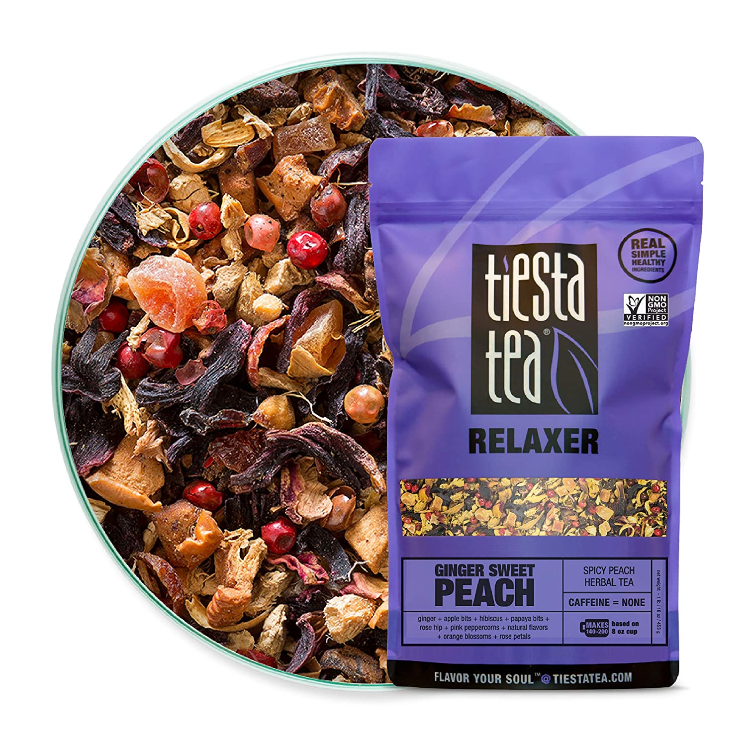 Tiesta Tea | Ginger Sweet Peach, Loose Leaf Spicy Peach Herbal Tea | All Natural, Caffeine Free, Stress Relief, Relax, Sleep Tea, Calming | 16oz Bulk Bag - 200 Cups | Ginger Herbal Tea