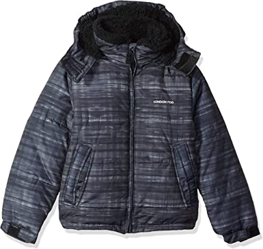London Fog Baby Boys Hooded Bubble Jacket with Teddy Faux Fur Lining