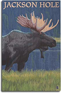 product image for Lantern Press Jackson Hole, Wyoming - Moose at Night (10x15 Wood Wall Sign, Wall Decor Ready to Hang)