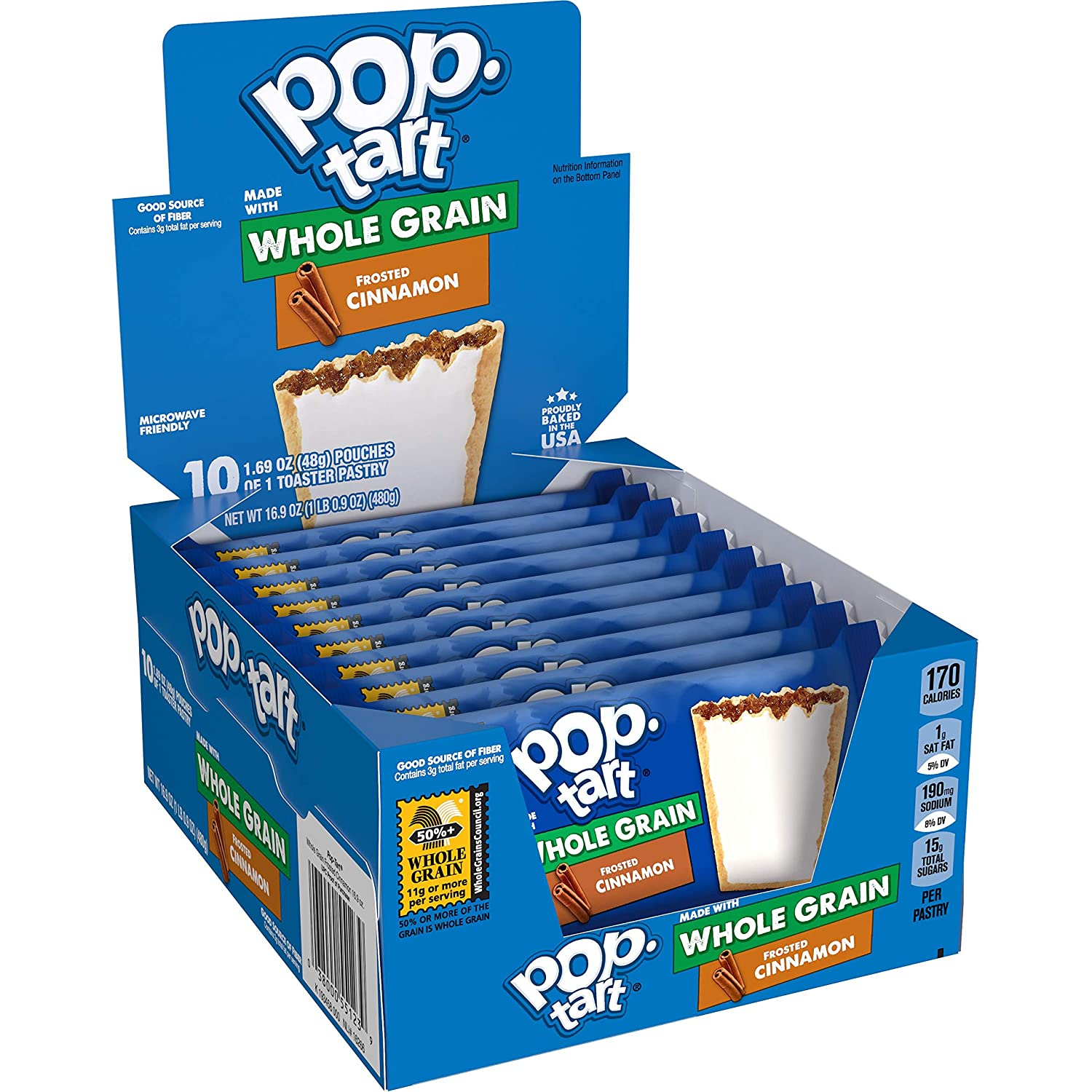 Pop-Tarts, Toaster Pastries Made with Whole Grain, Frosted Cinnamon 17.6oz (120 Count)