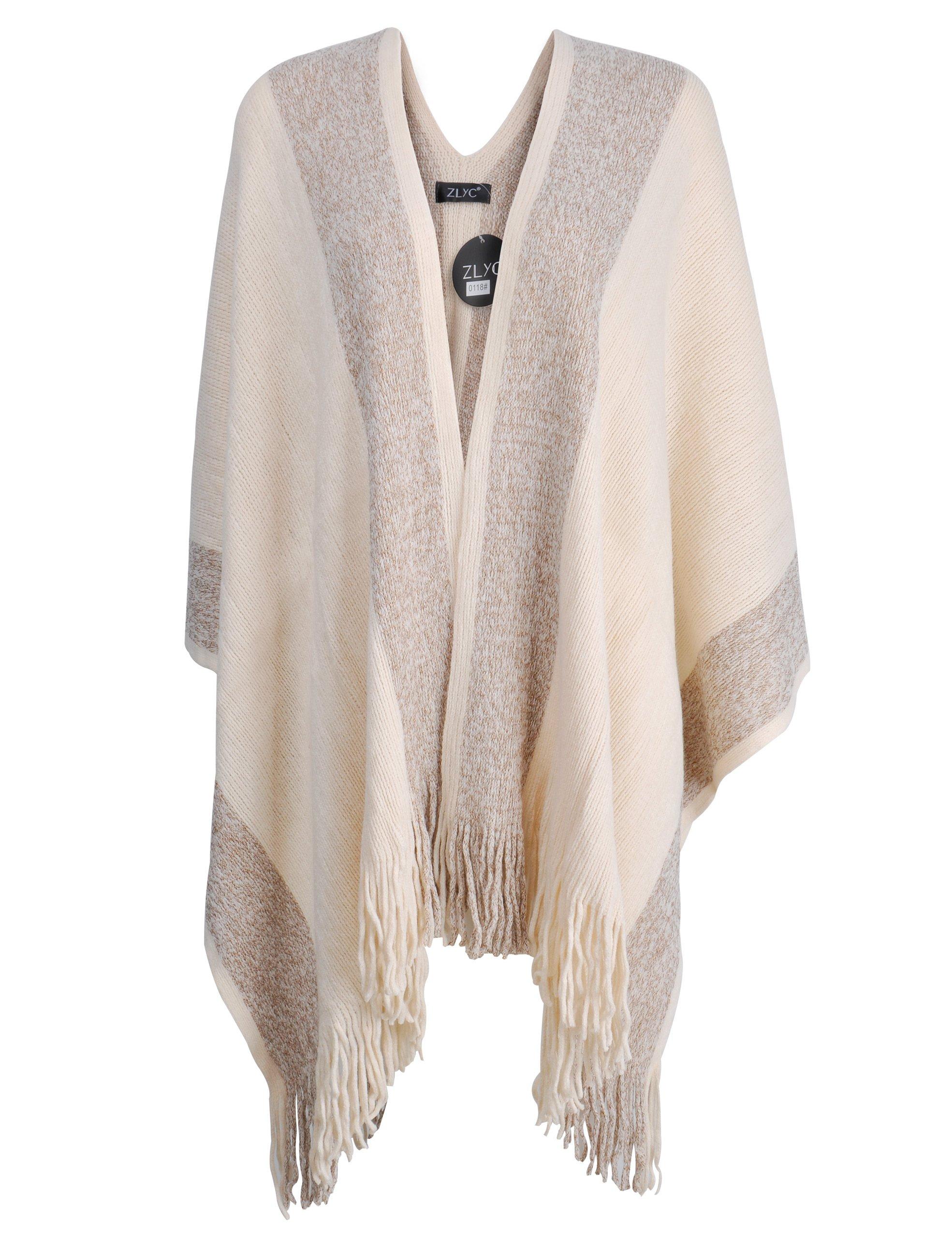ZLYC Women's Shawl Golden Trim Knit Blanket Wrap Fringe Poncho Coat Cardigan (Khaki)