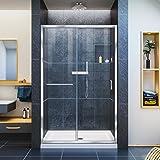 """DreamLine Infinity-Z 44-48 in. Width, Frameless Sliding Shower Door, 1/4"""" Glass, Chrome Finish"""