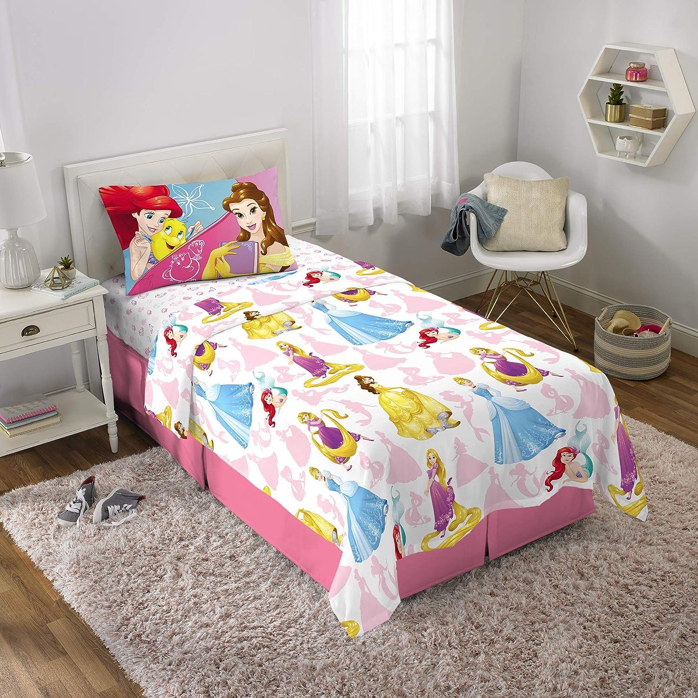 Disney Princess Soft Microfiber Kids Bedding Sheet Set, Twin Size 3 Piece Pack, White