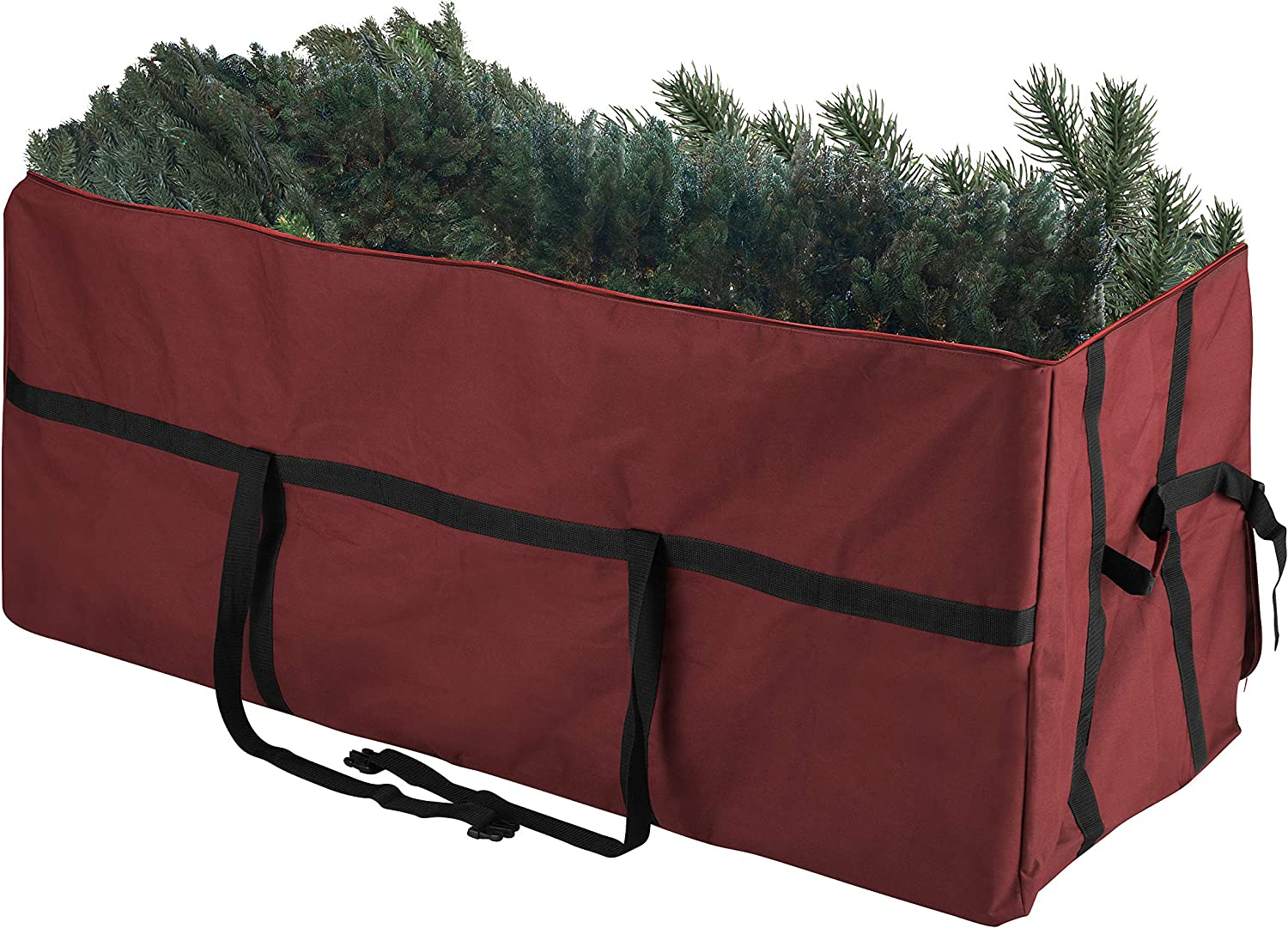 Elf Stor 83-DT5056 Heavy Duty Canvas Christmas Storage Bag Large for 9 Foot Tree, Red