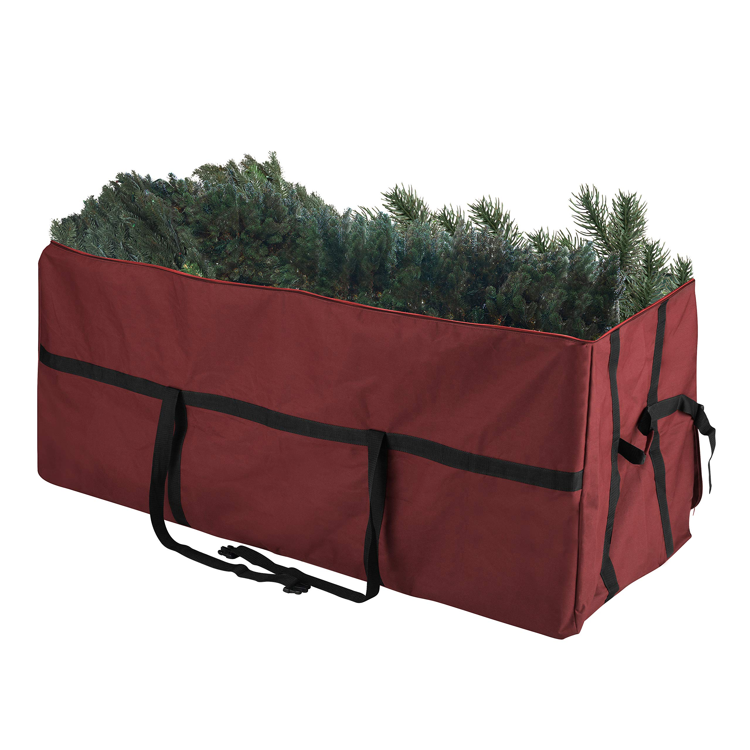 Elf Stor 83-DT5055 Heavy Duty Canvas Christmas Storage Bag Large for 7.5 Foot Tree, Burgundy