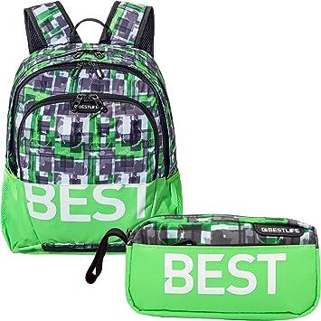 """BESTLIFE Mochila y estuche en un set """"TASKU"""" mochila escolar, para el tiempo libre con compartimento para el portátil hasta 15,6 pulgadas (39,6 cm), verde: Amazon.es: Equipaje"""