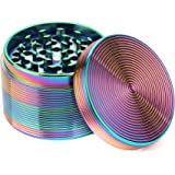 Fancyli Rainbow Grinder, Multi-Color 4 Pieces Tobacco Grinder Spice Grinder Herb Grinder with a Cleaning Brush (63X45MM)