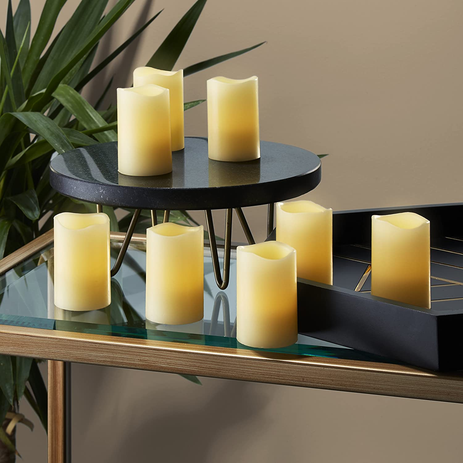 Melted Edge Batteries Included LampLust LC003170 Mini Wax Candles 8 Ivory 3 Flameless Votives with Warm White LEDs