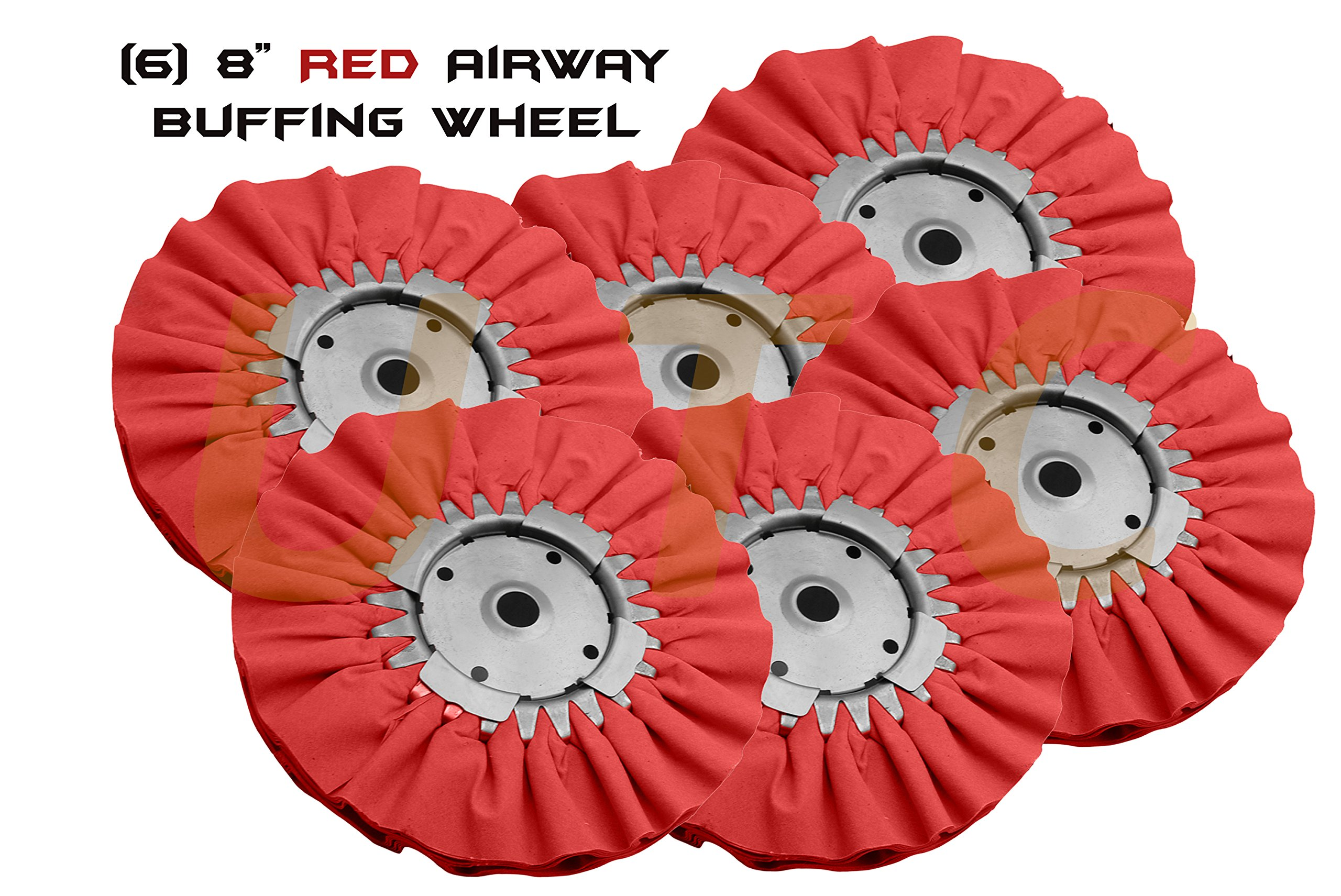 UTC (6) 8'' Red Airway Buffing Wheel for Polish Step of Aluminum Stainless Steel High Cut Abrasive Paint Sirwl Scratch