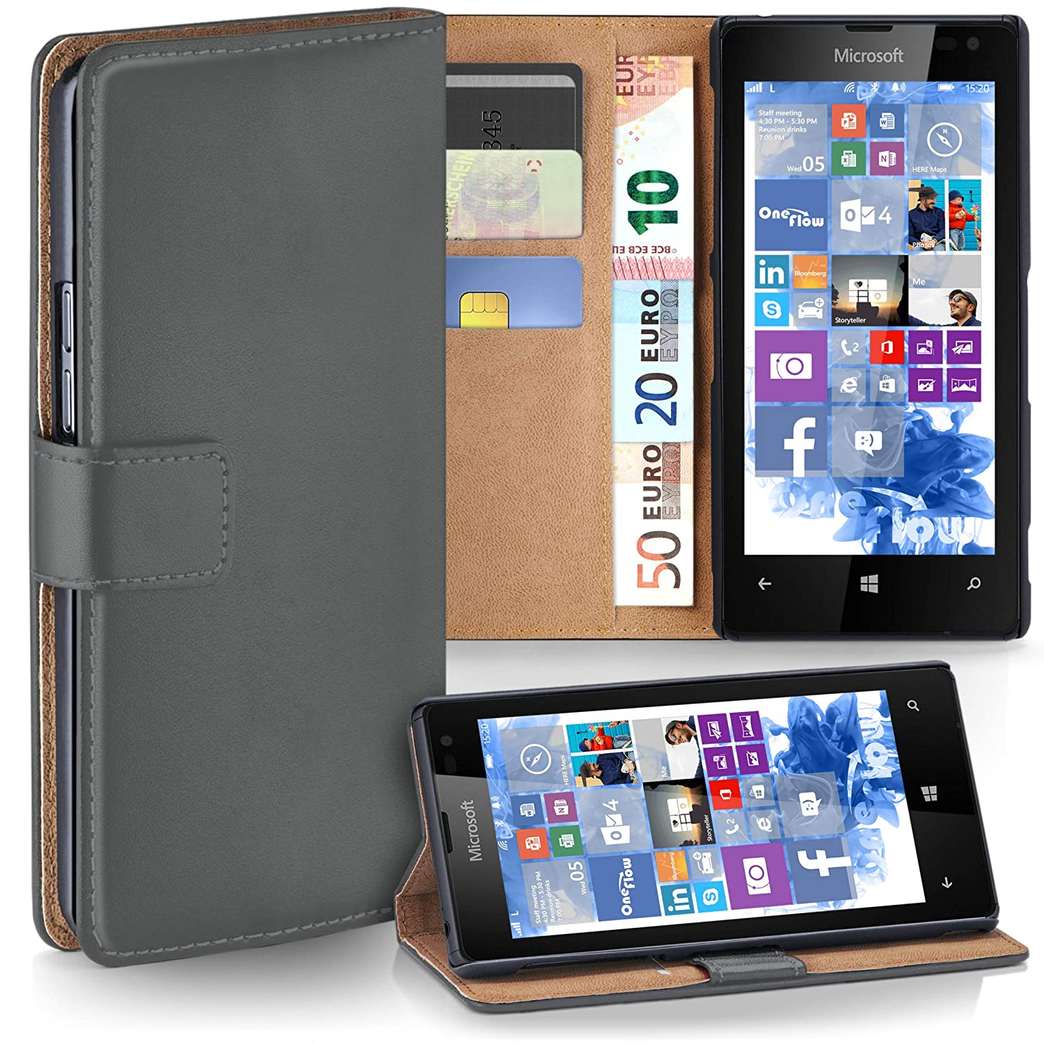 OneFlow Cover for Nokia Lumia 520/525 Cover case with card slots |  Flippable mobile phone flip case | Mobile phone cover protective case  accessory