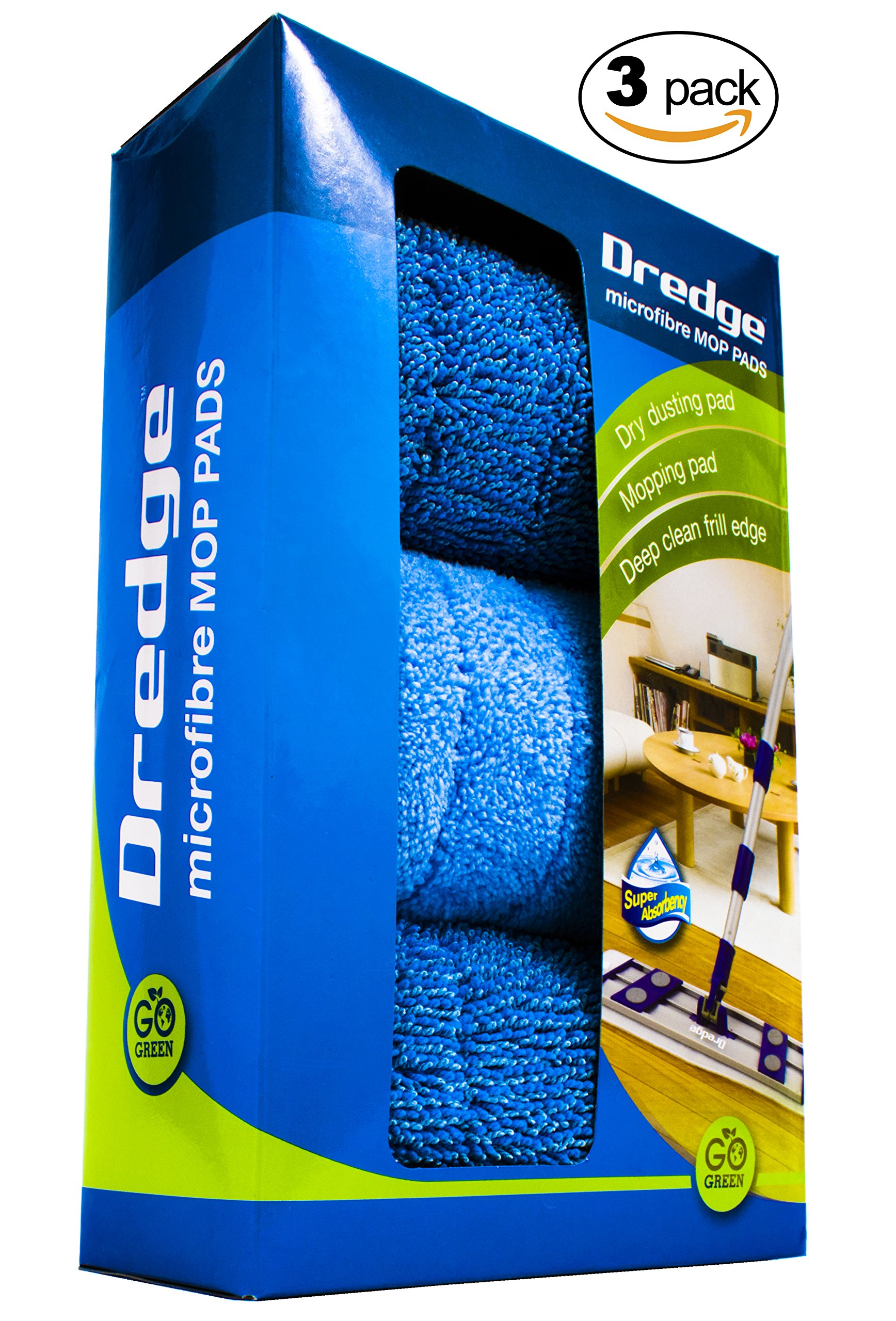 3-Pack 15.5'' Drag Resistant Microfiber mop pad refills for hardwood tile laminate and stone floors. DREDGE replacement pads. Best all in one multi-task reusable floor care kit |Dry & Wet cleaning.
