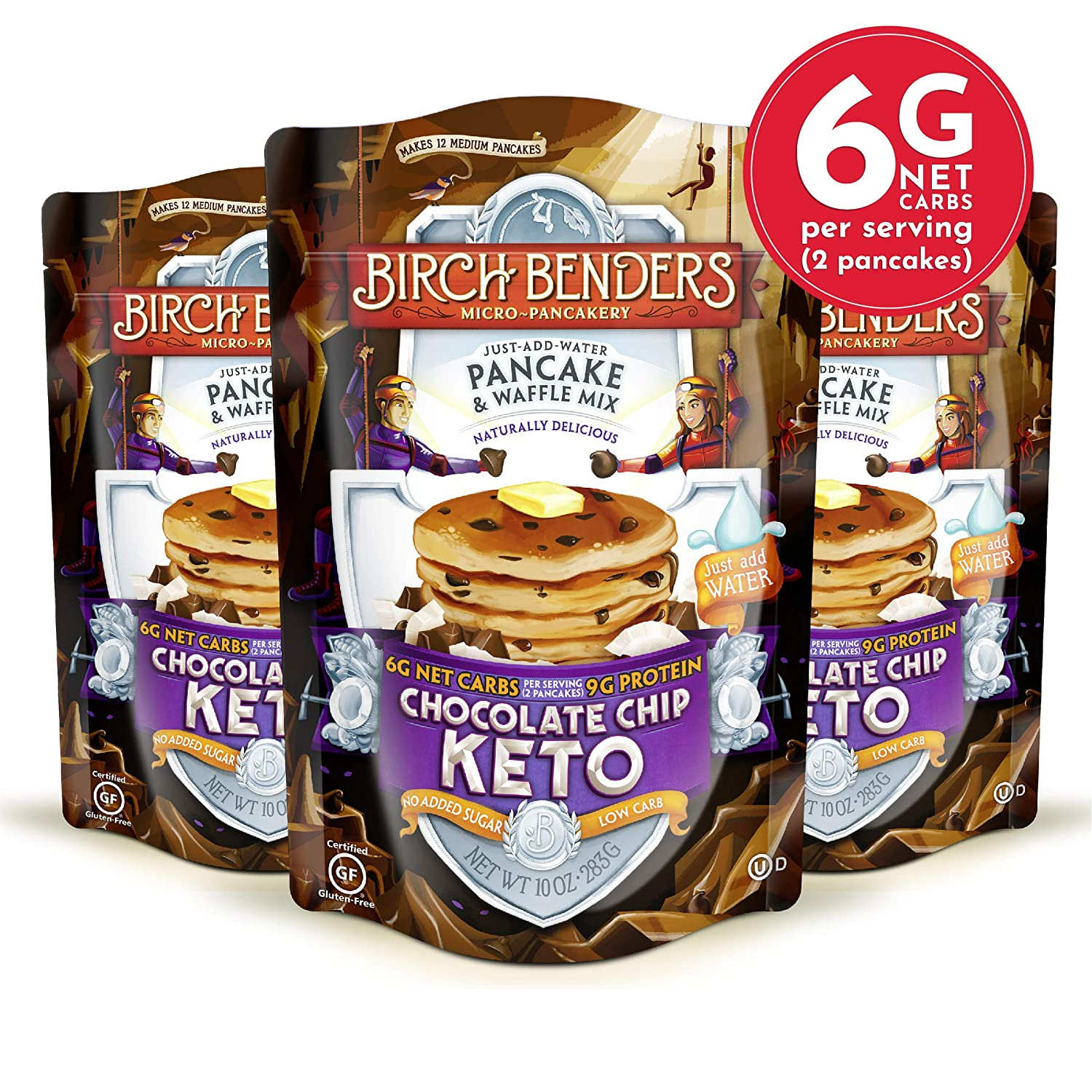 Birch Benders Keto Chocolate Chip Pancake & Waffle Mix with Almond/Coconut & Cassava Flour, 3 Count
