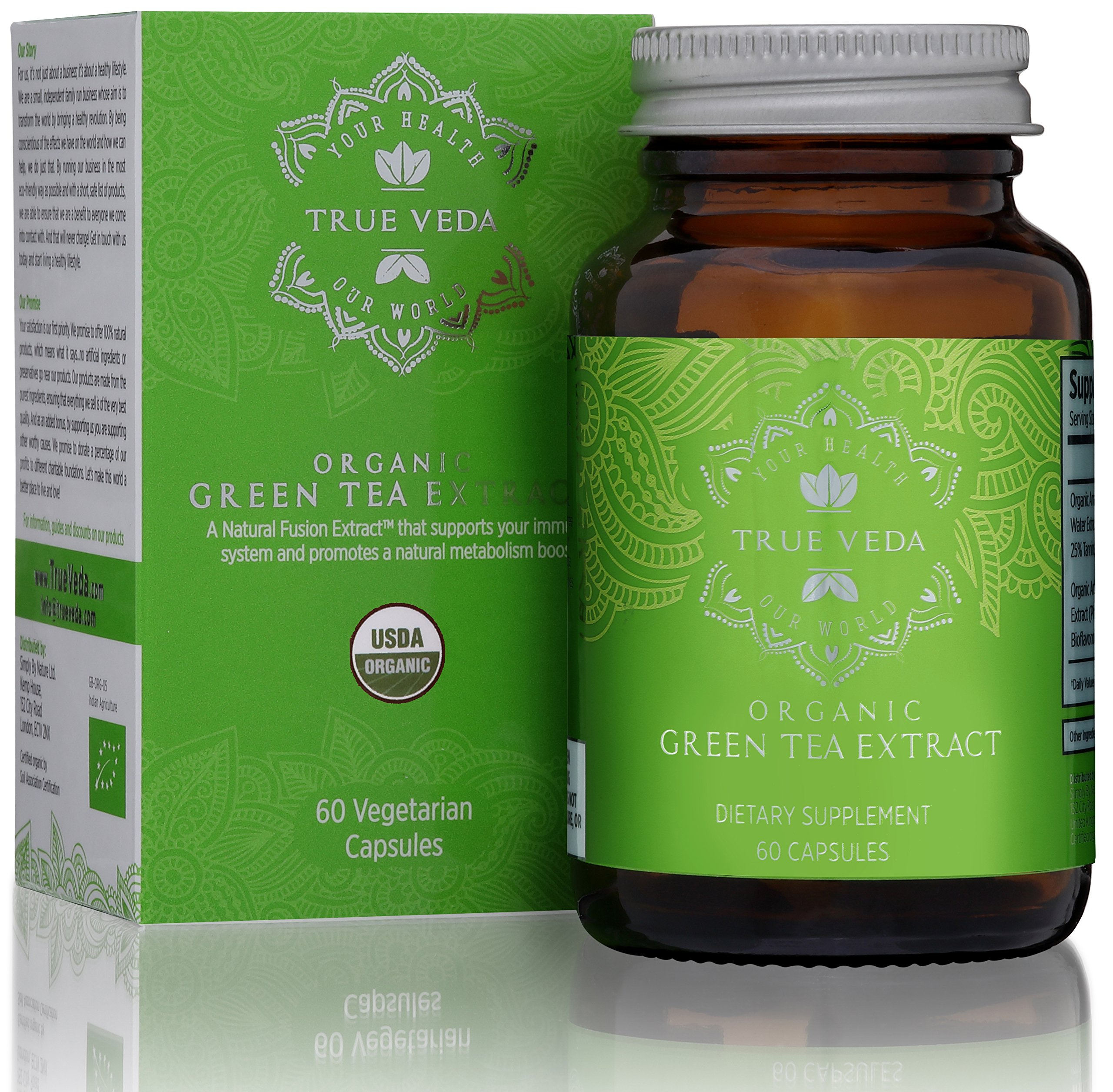 Organic Green Tea Extract Capsules – USDA Organic Certified   60 Green Tea Pills   High EGCG   Promote Natural Weight Loss Supplement   Metabolism Booster   Low Caffeine Source for Gentle Energy