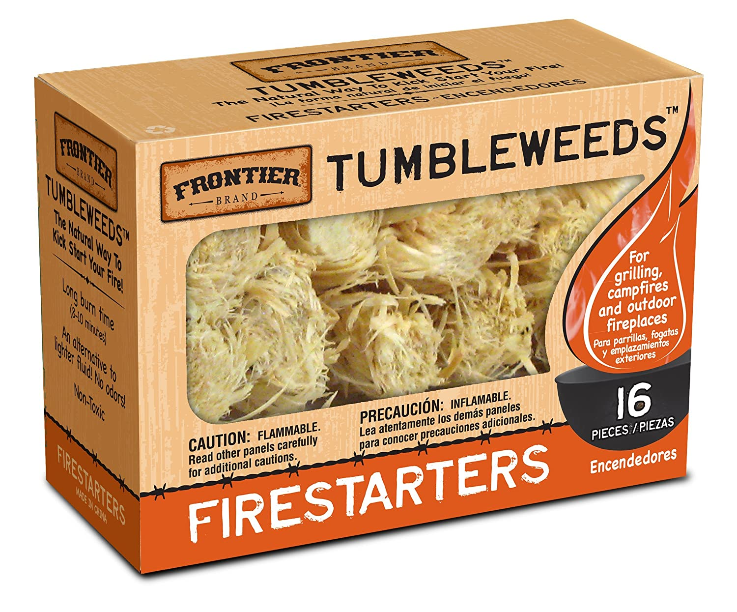 Frontier Tumbleweeds Natural Firestarters 1 box of 16 Packaging Service Co Inc Nhs XFTT16