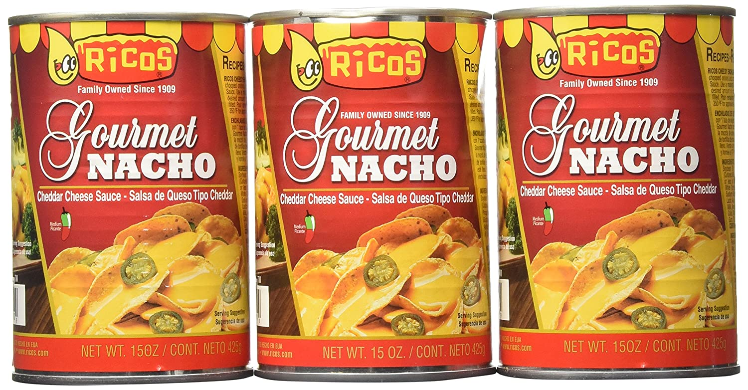 Amazon.com: Ricos Gourmet Nacho Cheddar Cheese Sauce with Jalapenos (Pack of 3) 15 oz Cans