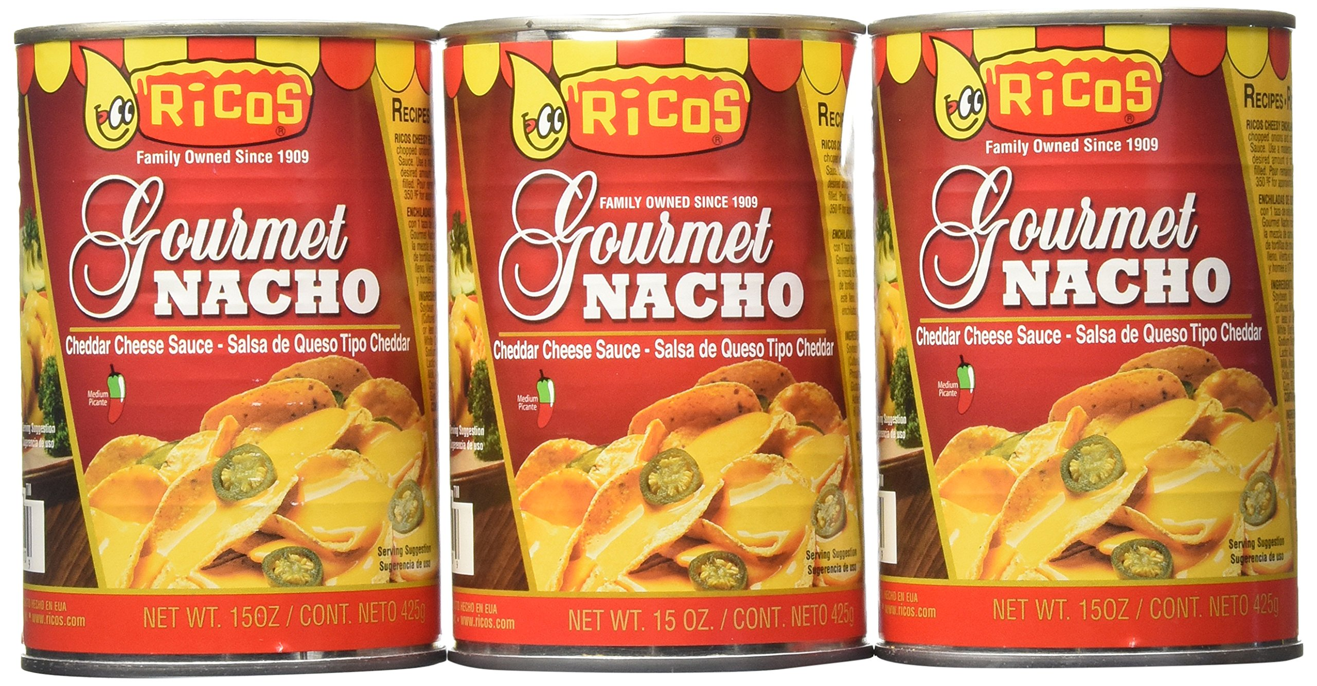 Ricos Gourmet Nacho Cheddar Cheese Sauce with Jalapenos (Pack of 3) 15 oz Cans
