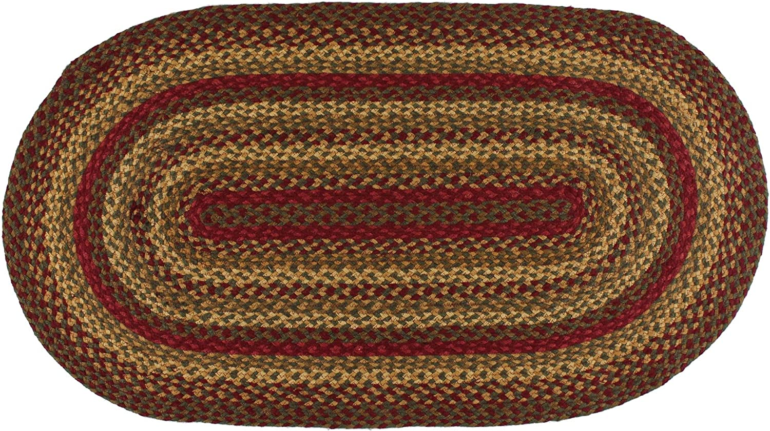 "IHF Home Decor Braided Area Rug | Cinnamon Design | Oval Indoor Outdoor Floormat | Wine, Sage, Tan Handwoven Reversible Carpet Natural Jute Fiber - 22"" x 72"""