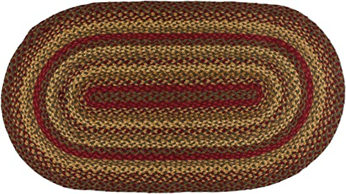 IHF Home Decor Jute Braided Rug Cinnamon | Oval Indoor Outdoor Area Floor Carpet | Wine