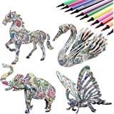 KAZOKU 3D Coloring Puzzle Set,4 Animals Puzzles with 12 Pen Markers, Art Coloring Painting 3D Puzzle for Kids Age 7 8 9 10 11