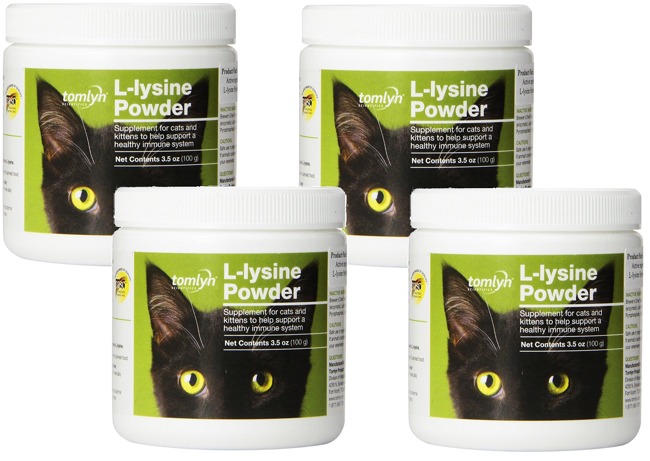 Tomlyn Scientifics L-Lysine Health Supplement Powder for Cats, 100gm Jars (4 Pack)