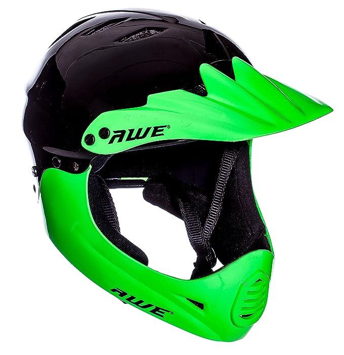 AWE® gratis 5 Jahr Crash Ersatz * BMX Full Face Helm schwarz grün, Größe M 54–58 cm