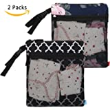 NiceEbag 2 pcs Baby Wet and Dry Cloth Diaper Bags Travel Nappy Organizer Bag Waterproof Reusable with Two Zippered Pockets(Black Lantern and Blue Peony)
